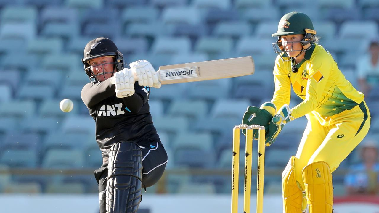 CRUNCH: Hayley Jensen, of New Zealand, during a one-dayer against Australia in Perth in February. Picture: AAP Image/Richard Wainwright.