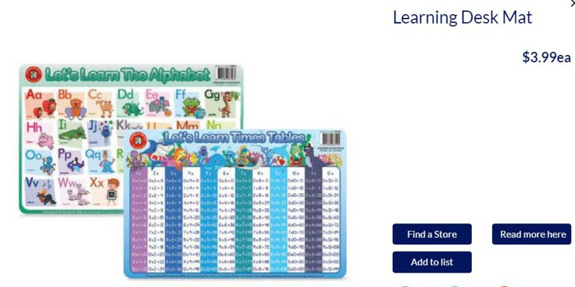 The $4 Learning Mat was in Aldi's May 20 Special Buys. Picture: Aldi Australia