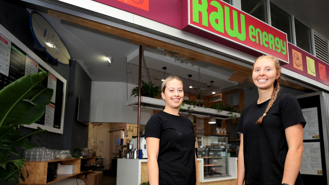 Raw Energy Coolangatta employees Lola Bennett and Tergiri Mortimer. Photo Scott Powick Newscorp