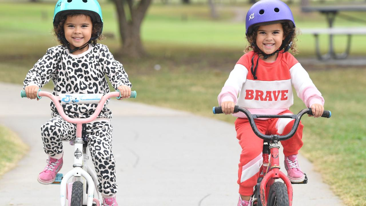 Twins Mya and Stevi Weale enjoying a bike ride down at One Mile Ovals - Picture: Shane Zahner