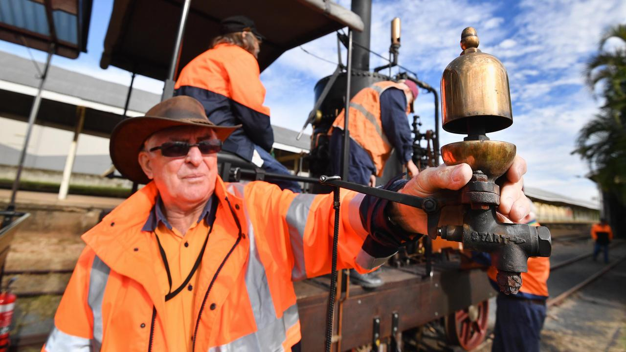 The Mary Ann steam engine about to head out from Maryborough station - Maryborough City Whistle Stop Inc president Warren McPherson with the whistle off the Mary Ann.Photo: Alistair Brightman
