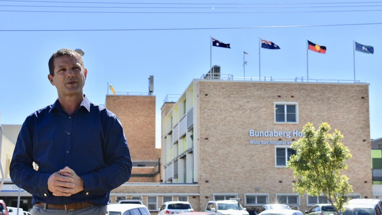 CALLS FOR TIMELINE: Member for Bundaberg David Batt outside the Bundaberg Hospital.