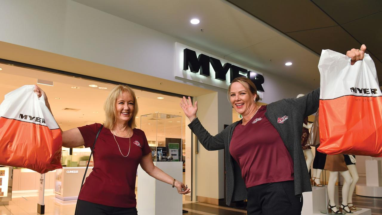 Kathy Dine and Nikki Roberts from IDEAL Placements were happy to support the local Myer when it reopened. Picture: Tony Martin