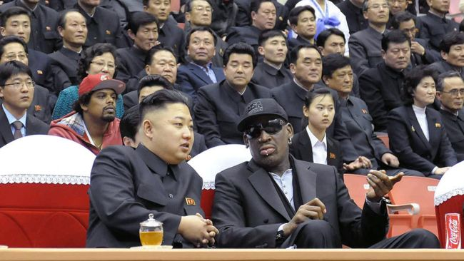Rodman befriended Kim Jong-un during a 2013 trip to Pyongyang. Picture: AFP/KCNA/KCNA VIA KNS