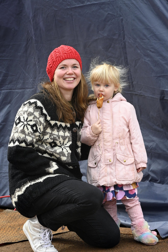 Georgie and her daughter Ailish Taylor enjoy the Farmer's Markets despite the cold weather in Toowoomba, Photo Bev Lacey