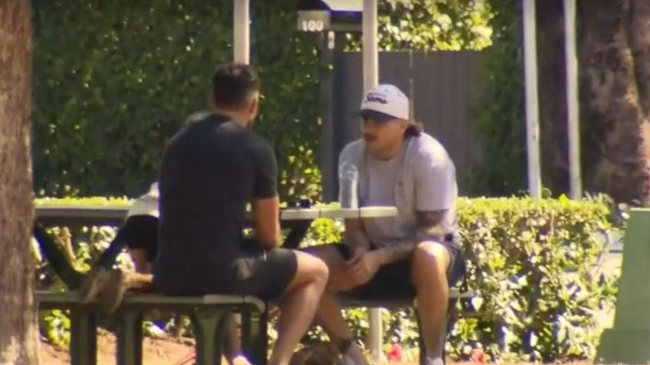 Darius Boyd and Jack Bird were spotted meeting in public during COVID-19 lockdown.
