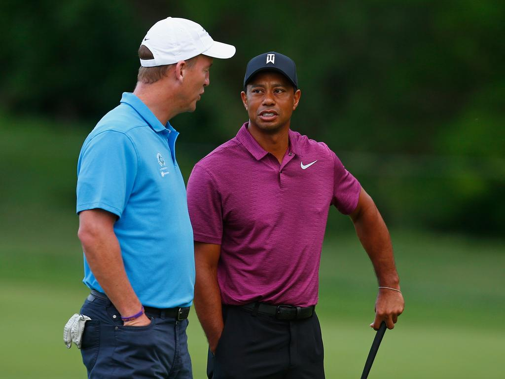 Peyton Manning and Tiger Woods have teamed up at Pro-Am events in the past. (Photo by Matt Sullivan/Getty Images)