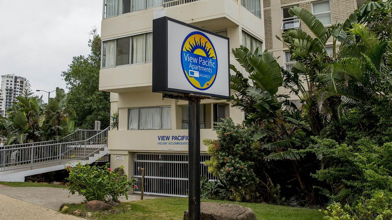 A teenager is dead after falling from the balcony of the Pacific View resort in Surfers Paradise. Picture: Jerad Williams