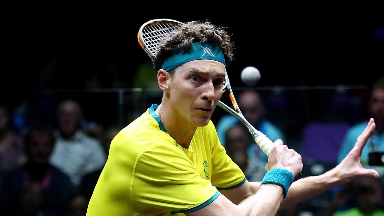 GOLD COAST, AUSTRALIA - APRIL 06: Cameron Pilley of Australia competes against Lewis Walters of Jamaica in the Squash Mens Singles match on day two of the Gold Coast 2018 Commonwealth Games at Oxenford Studios on April 6, 2018 on the Gold Coast, Australia. (Photo by Chris Hyde/Getty Images)