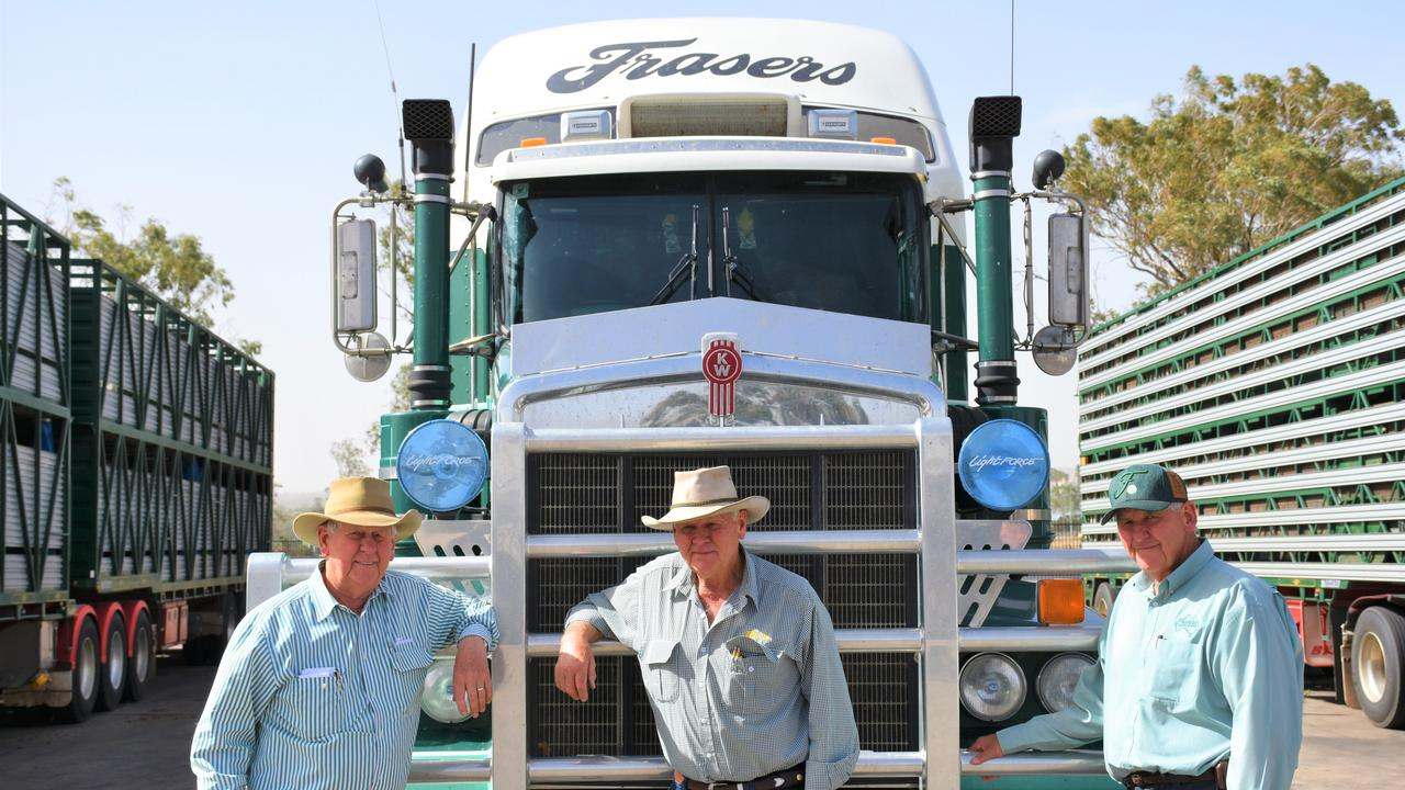 ROCKY ROAD AHEAD: Fraser Livestock Transport's Ross, Les, and Peter Fraser. Picture: Emily Clooney