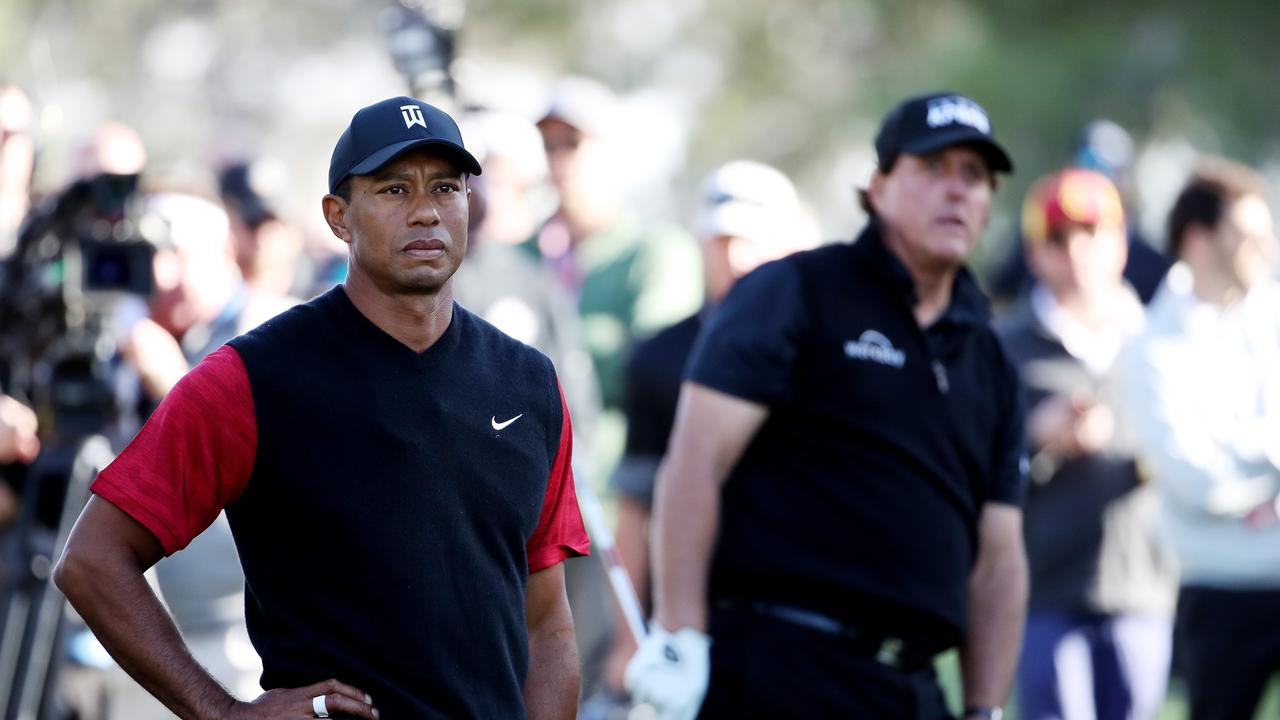 Tiger Woods lost to Phil Mickelson on extra holes in their first one-on-one match. (Photo by Christian Petersen/Getty Images for The Match)