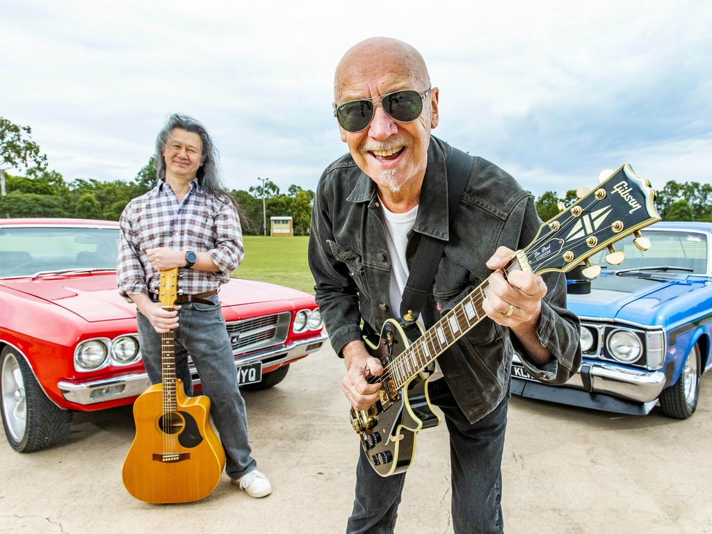 Musician Russell Morris (front) poses at the Cleveland Showgrounds with organiser of 'Drive-in Concert Live' Michael 'China' Walker. Picture: Richard Walker