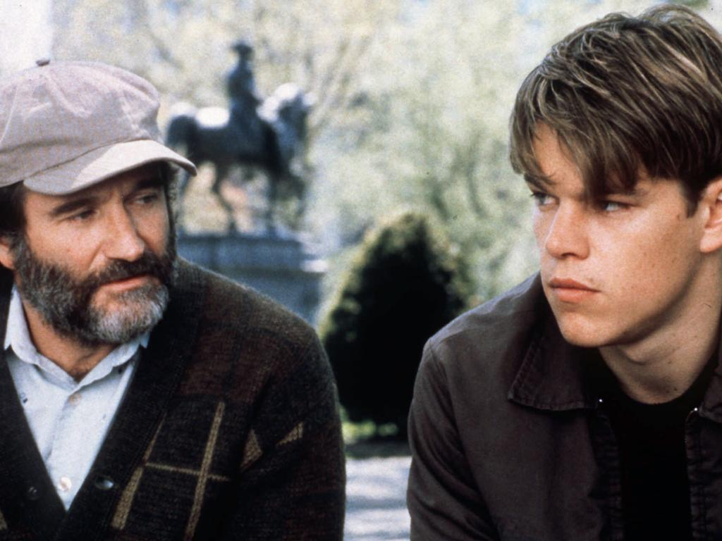 Robin Williams and Matt Damon in scene from Good Will Hunting.