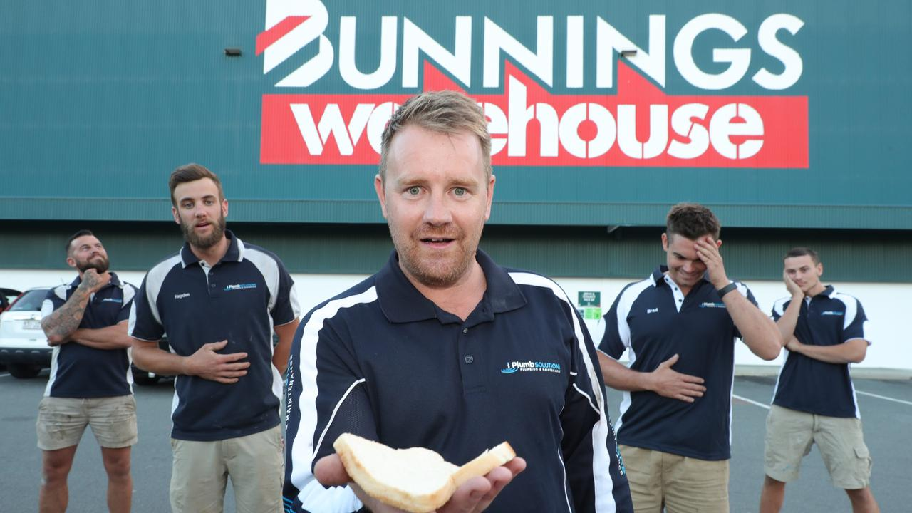 The iPlumb Solutions team – (from left) Dean Gibbs, Hayden Kelly, Daniel Weuffen, Brad Hanna and Keanu Debnar – are ready for a snag at Bunnings at Nerang. Picture: Glenn Hampson