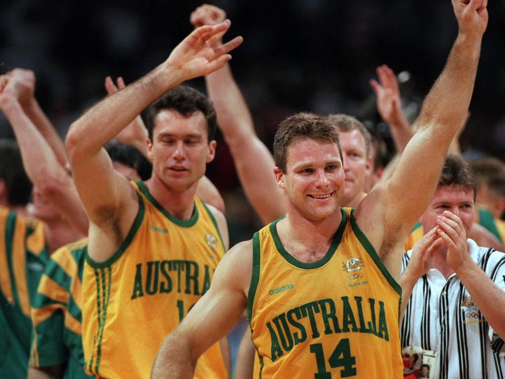 Australia's Boomers celebrate their quarterfinal victory over Croatia at the 1996 Atlanta Olympic Games.