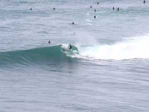 SURFIN' SAFARI: Surfers enjoy the big swell at