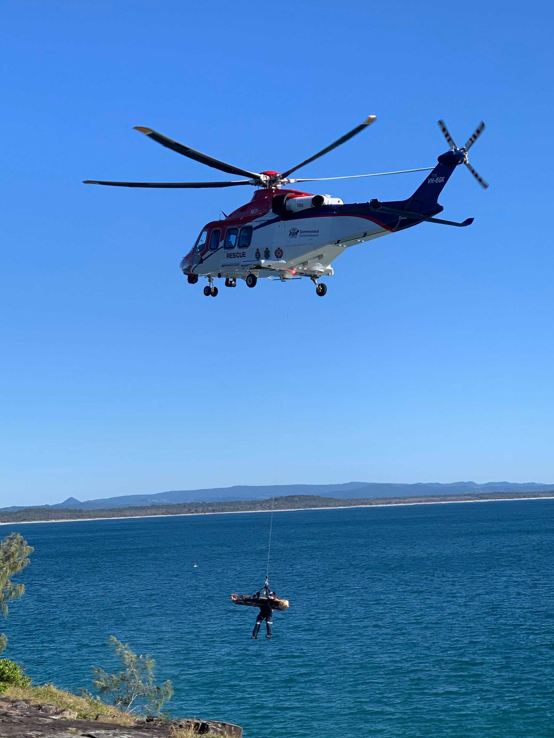 AIR RESCUE: A man has been airlifted to hospital after falling onto rocks at a Noosa beach.