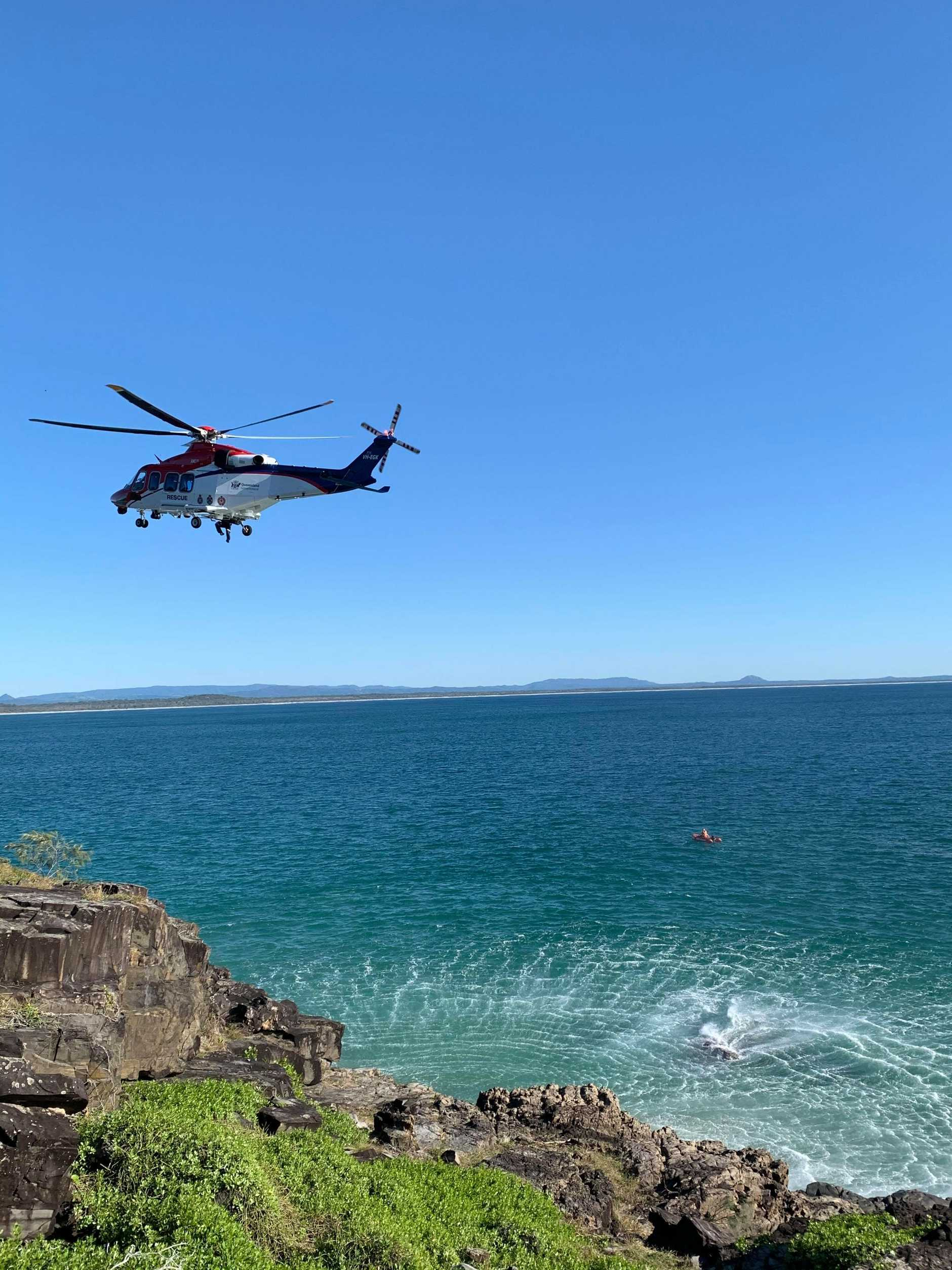 AIR RESCUE: A man has been airlifted to hospital after falling onto rocks at a Noosa beach (Pic: Vanessa Lyons)