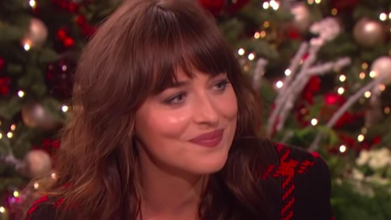 Dakota Johnson's tense interview in December was the beginning of a rapid Ellen Show decline. Picture: YouTube.