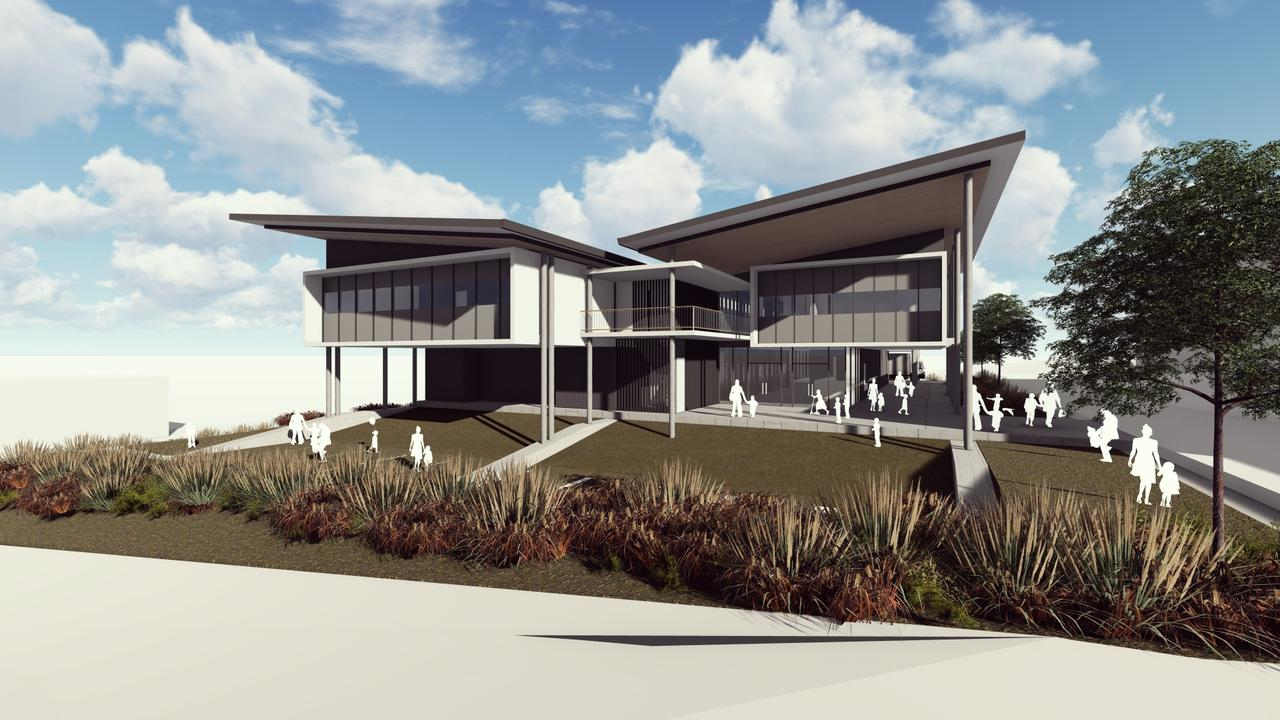 Concept art for the new Toowoomba State High School performing arts centre, which is under construction.