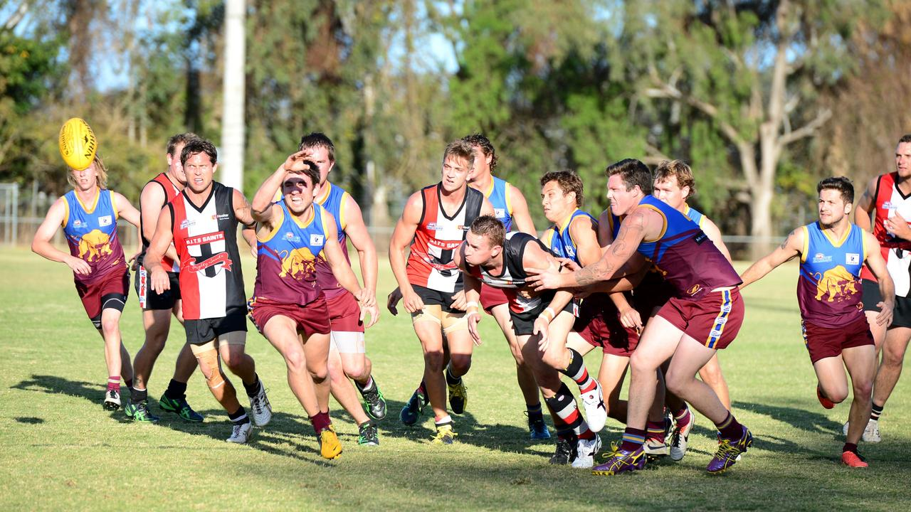 GRAND SUCCESS: Action from the 2013 decider between the Saints and Glenmore Bulls.
