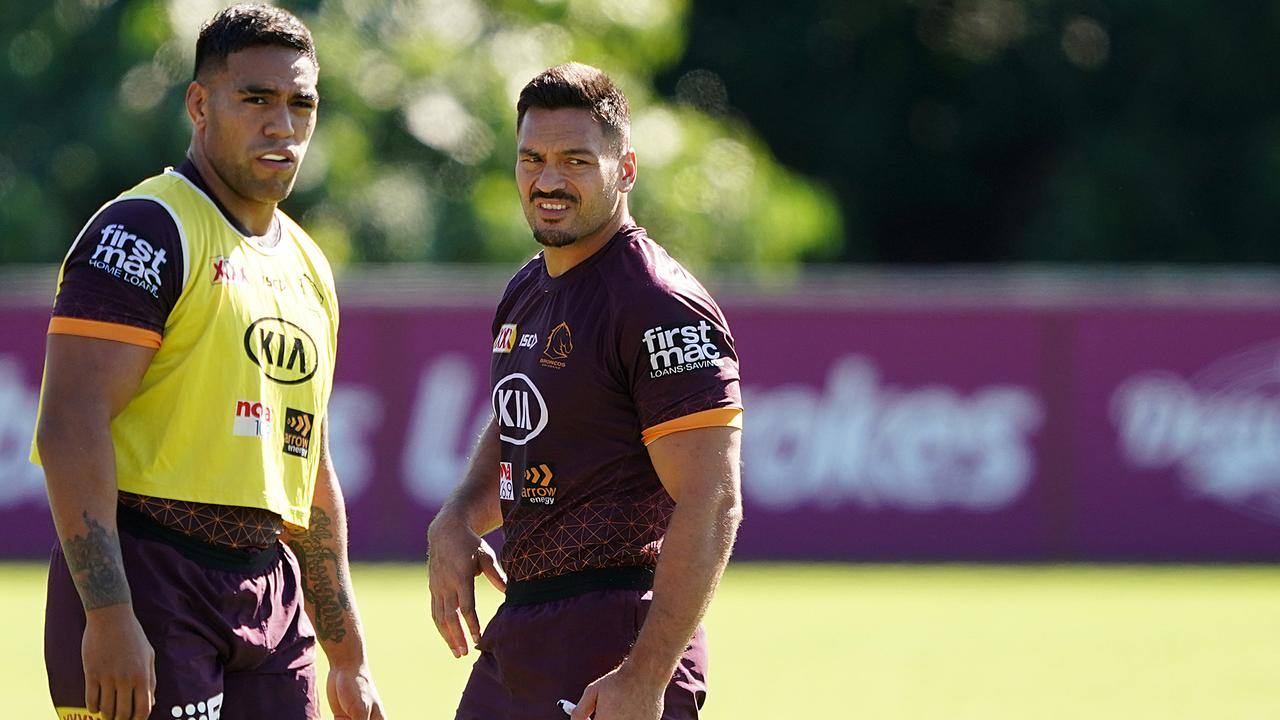 Joe Ofahengaue and Alex Glenn are the only remaining Broncos forwards from the 2015 grand final. Picture: Dave Hunt/AAP