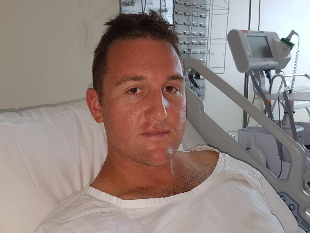 Constable Hayden Edwards, pictured at Royal Prince Alfred Hospital after being stabbed at Central station.