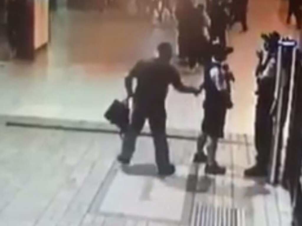 CCTV footage of the attack on police officer Hayden Edwards at Central Station in April last year.