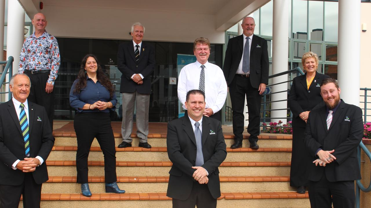 The new Gladstone Regional Council. (Back) Chris Trevor, Chris Cameron, Rick Hansen (middle) Natalia Muszkat, Darryl Branthwaite, Desley O'Grady (front) Glenn Churchill, Mayor Matt Burnett and Deputy Mayor Kahn Goodluck outside the council chambers.