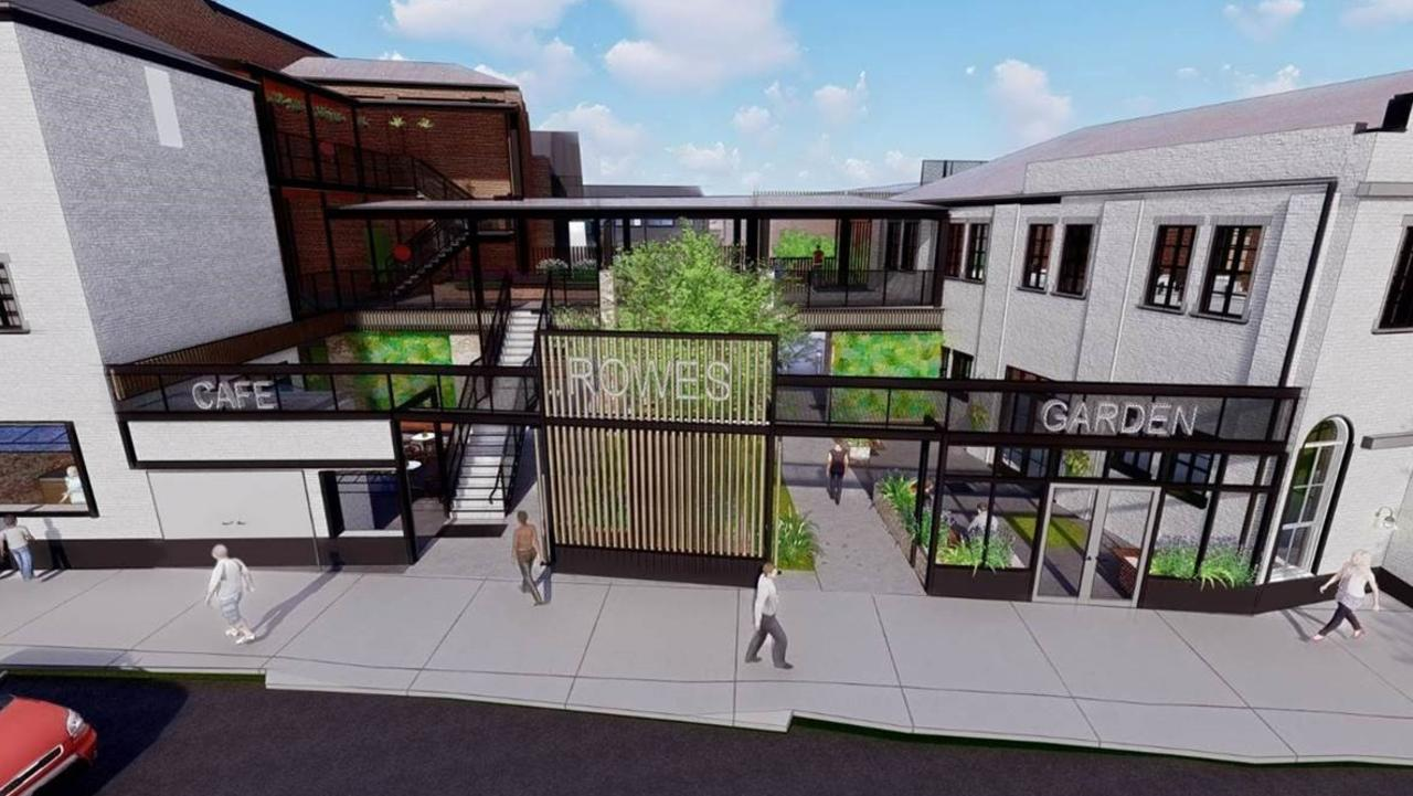 Concept art for the redevelopment of Rowes furniture store and surrounding premises.