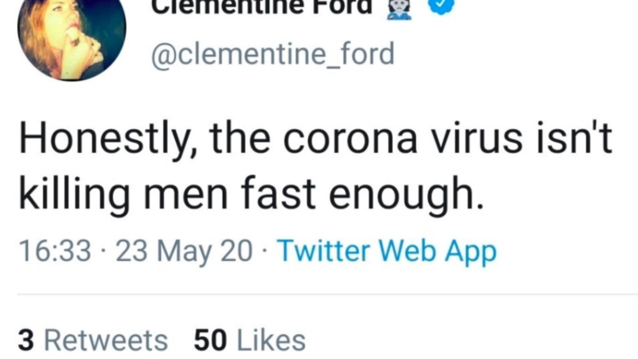 Clementine Ford sparked backlash after tweeting about coronavirus in response to an article about women's labour.