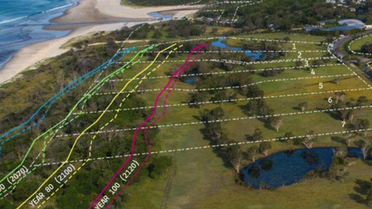 Contemporary coastal hazard lines from a Royal Haskoning DVH study.