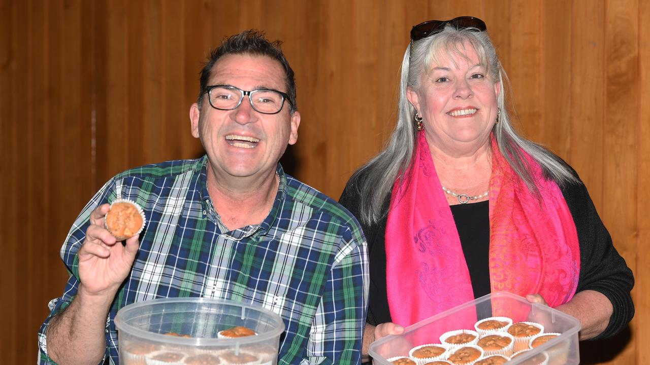 Bruce Devereaux and Dolly Jensen enjoying Dolly's home made muffins.