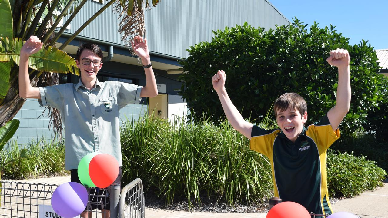 SCHOOL'S COOL: Proserpine State High School Year 9 students Riley Stuchbree, 14, and Sam Rogers, 13, are pleased to be back at school after home schooling during COVID-19 restrictions.