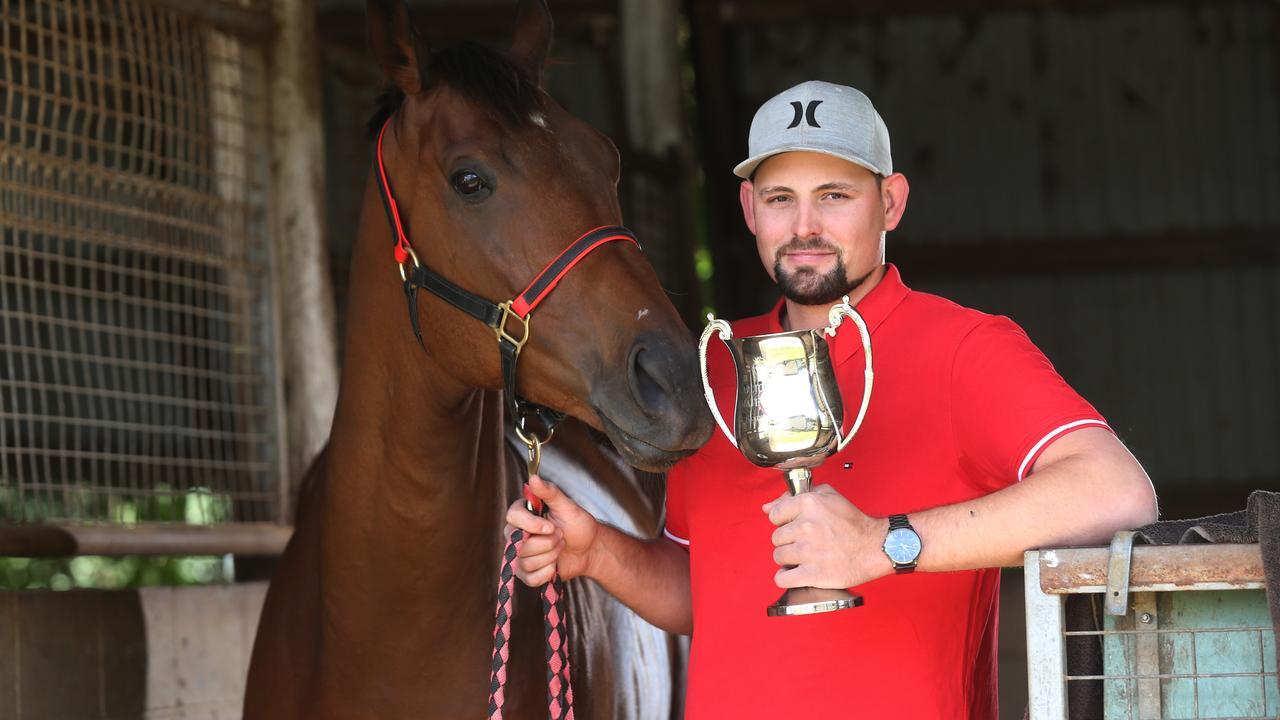 Rockhampton trainer Jared Wehlow with racehorse Onemore Emotion that will race in Mackay today. Picture: Stewart McLean
