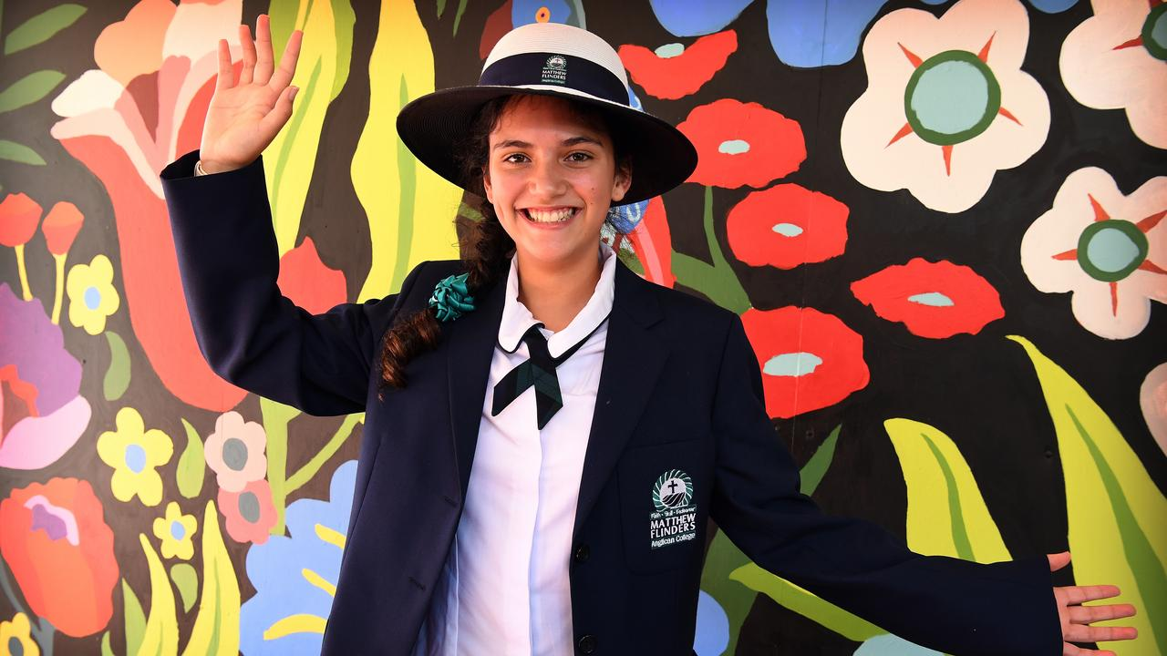 Matthew Flinders Anglican College Year 7 student Leila McRobert enjoys the time back at school. Photo: Warren Lynam