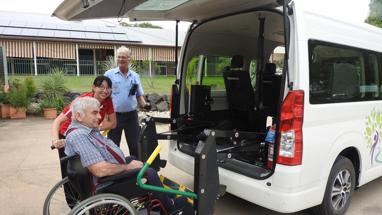 NEW WHEELS: Resident Trevor Kuhl with Diversional Therapist Charmaine Smith, and Maintenance Officer Chris Pattie. Picture: Contributed