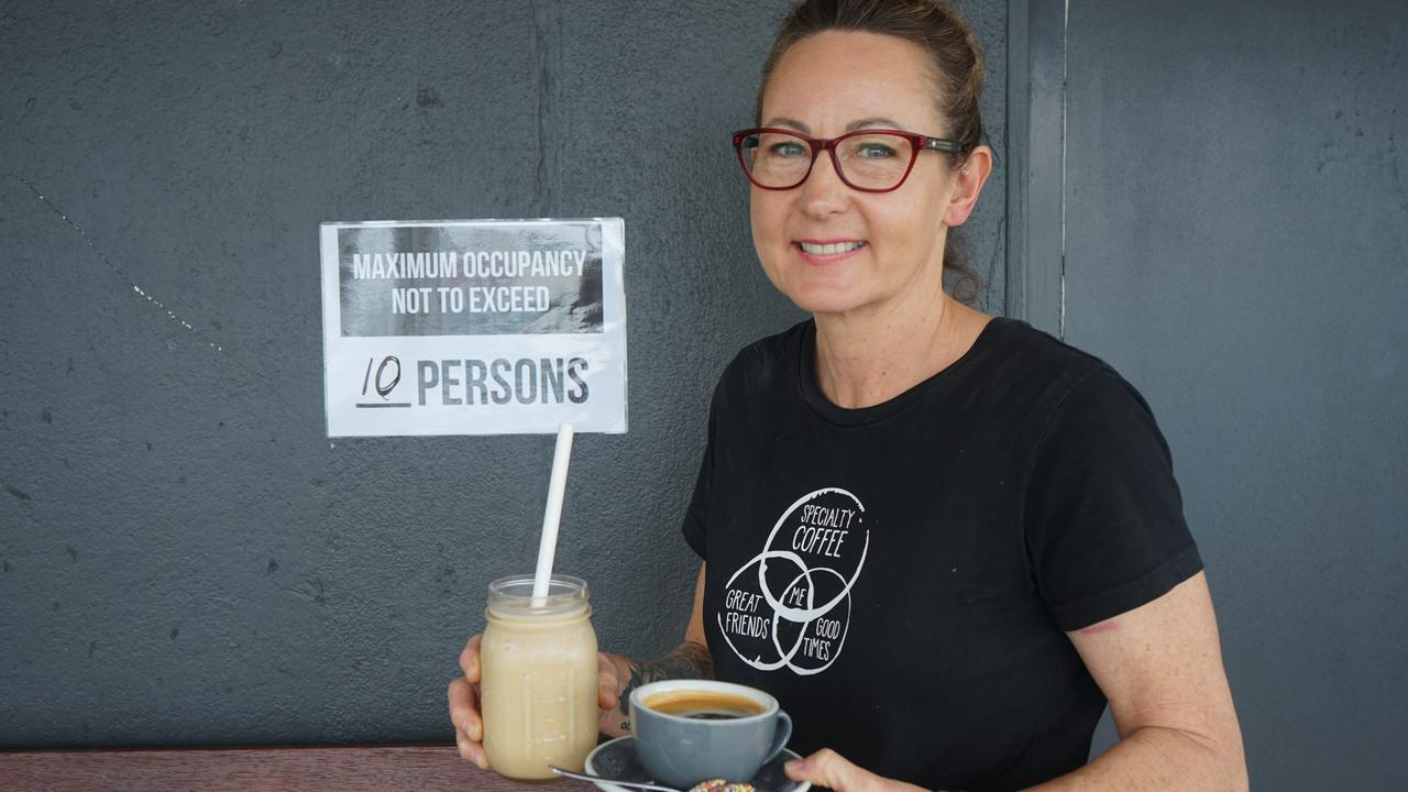 Woodman's Axe Espresso owner Merryn Ward is thrilled to be able to offer a dine-in service now coronavirus restrictions have eased. Picture: Rainee Shepperson