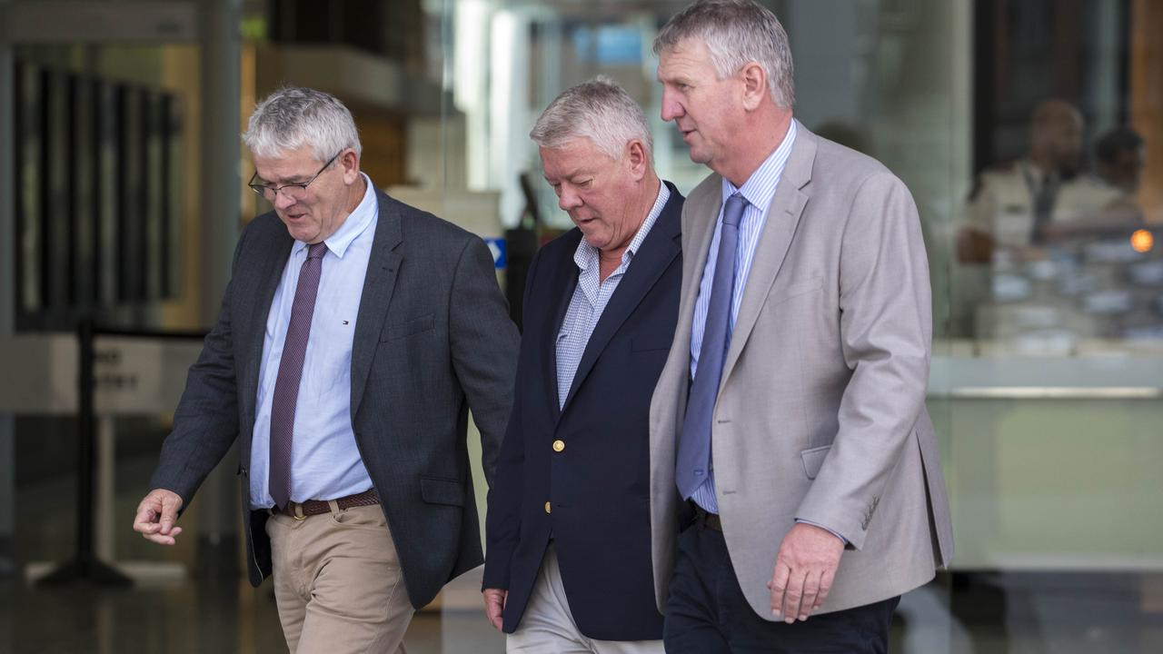 Neill, John and Denis Wagner leave the Supreme Court in Brisbane. Picture: Glenn Hunt