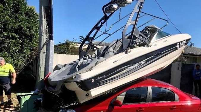 'These things happen': Boat lands on top of car