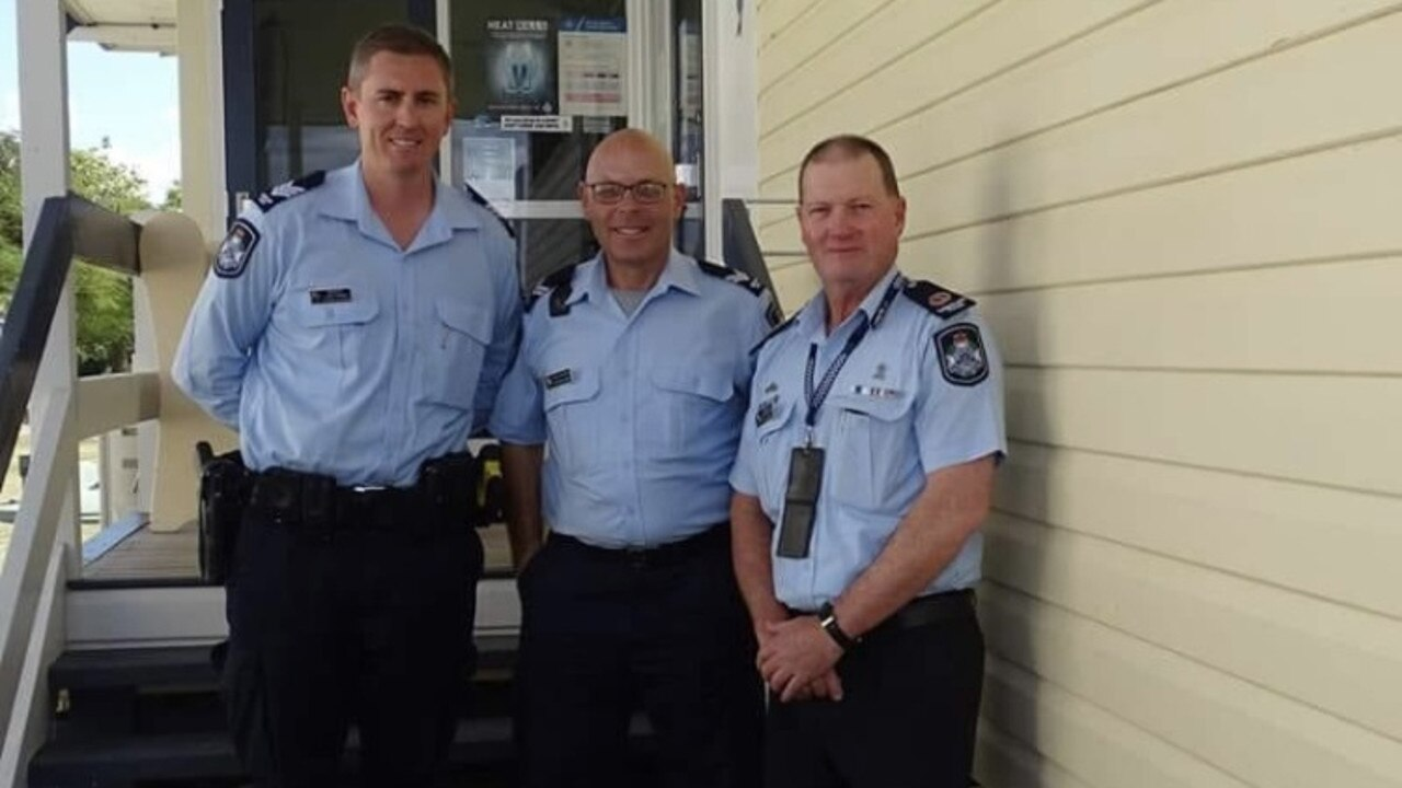 NEW TO TOWN: Baralaba police's new officer in charge, Sergeant Justin Trinder (left) with Senior Constable Darren Ashton and Central Region Assistant Commissioner Kev Guteridege.