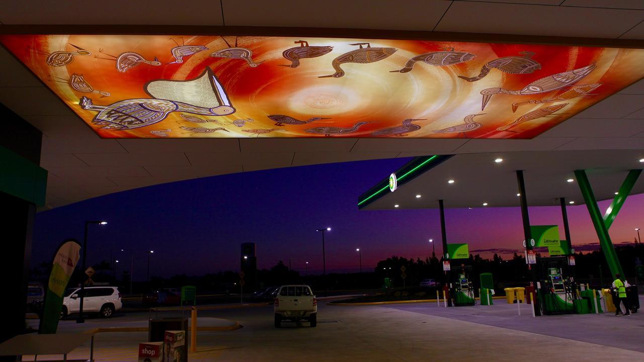 The stunning work of Bundjalung artist Marcus Ferguson featured at the BP Travel Centre in Ballina.