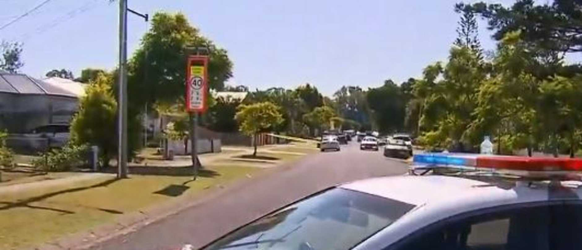 The scene at Cannon Hill where a child has been found dead. Photo: 9 News