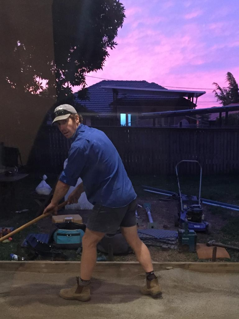 Jacob Buhle hard a work as the sun set on the coldest May day in decades on Saturday evening.