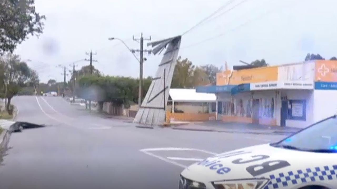 A power line damaged by debris in Perth. Picture: ABC