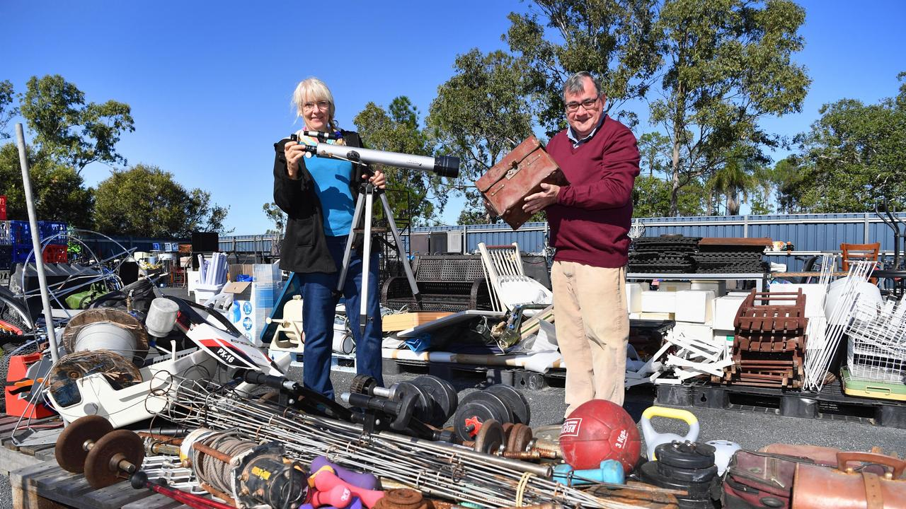 Waste to Art competition- artist Lily Podger and Cr. David Lewis amongst the recycled goods at the Hervey Bay Transfer Station at Nikenbah.Photo: Alistair Brightman