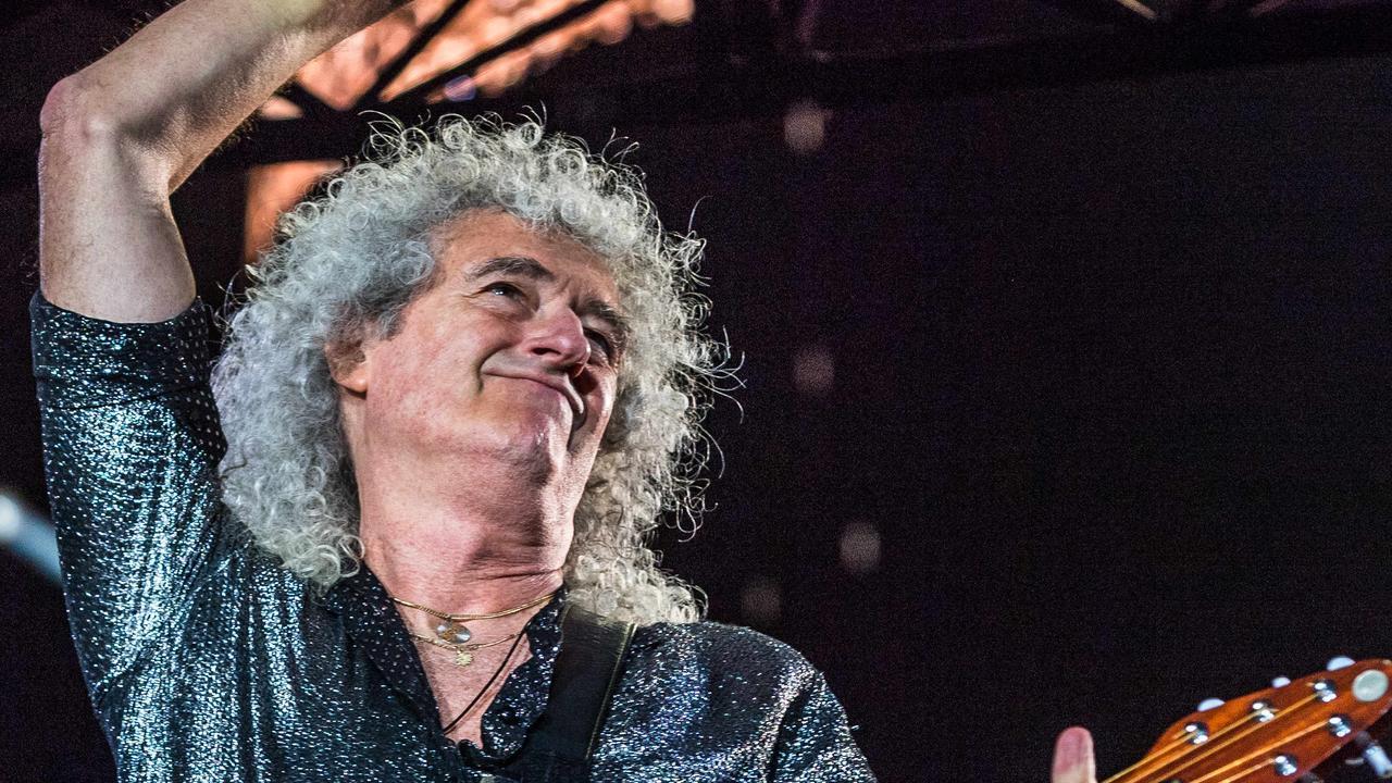 Queen & Adam Lambert Concert AAMI Park, Melbourne. Brian May. Picture: Jake Nowakowski
