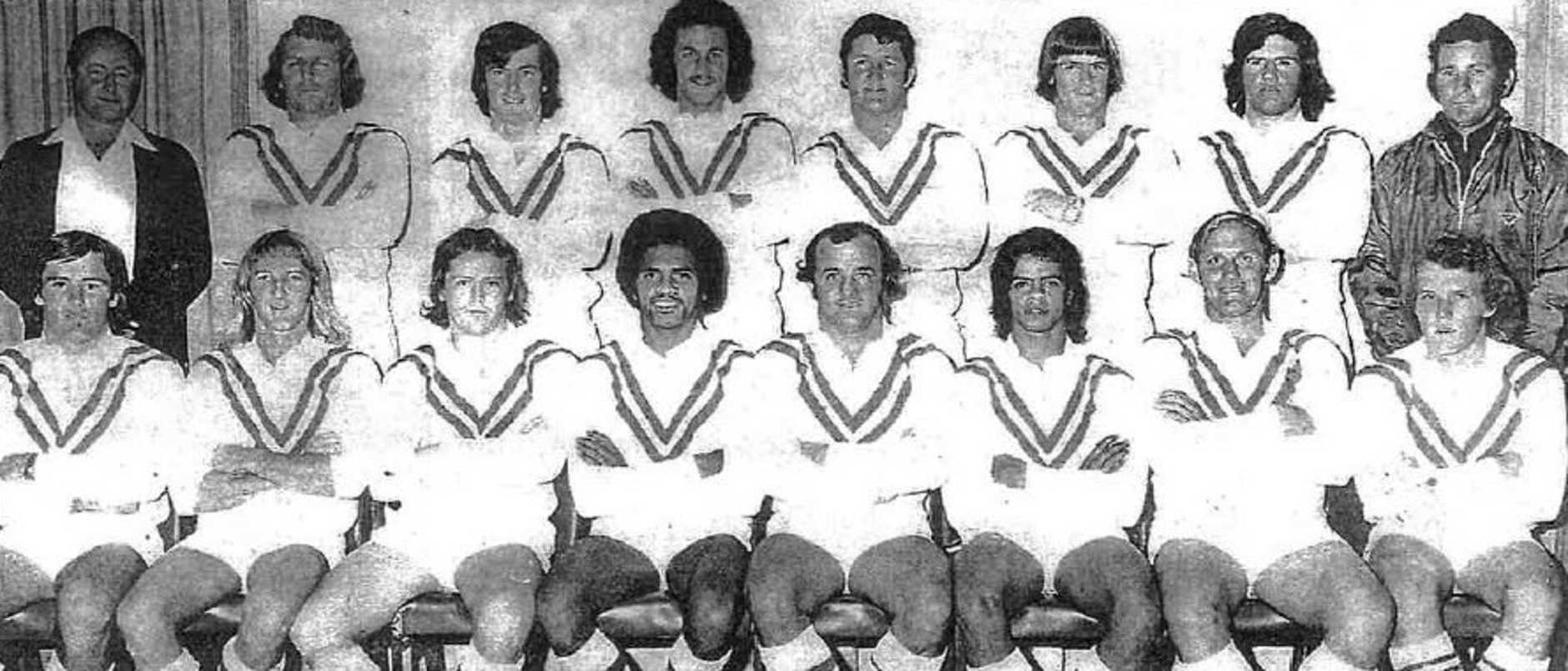 CHAMPIONS: The great South Grafton Rebels premiership team of 1975, from back left: John Neville (manager), Ray Ide, Garry Chapman, Garvin Cannon, Mark Eggins, Peter Hambly, Gary Davis, Graham Peters (strapper). Front: John O'Donoghue, Les Ratcliffe, Alan Ryan, John Ferguson, John Brown (captain-coach), Ron Phillips, Frank White, Steve Martin. Absent: Alan Reed, Rick King.