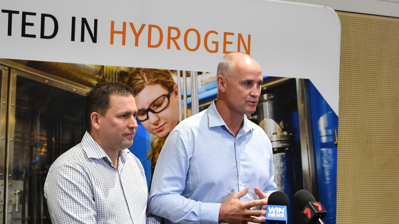 Gladstone Mayor Matt Burnett and MP for Gladstone Glenn Butcher at the Hydrogen Forum held in the city in February.