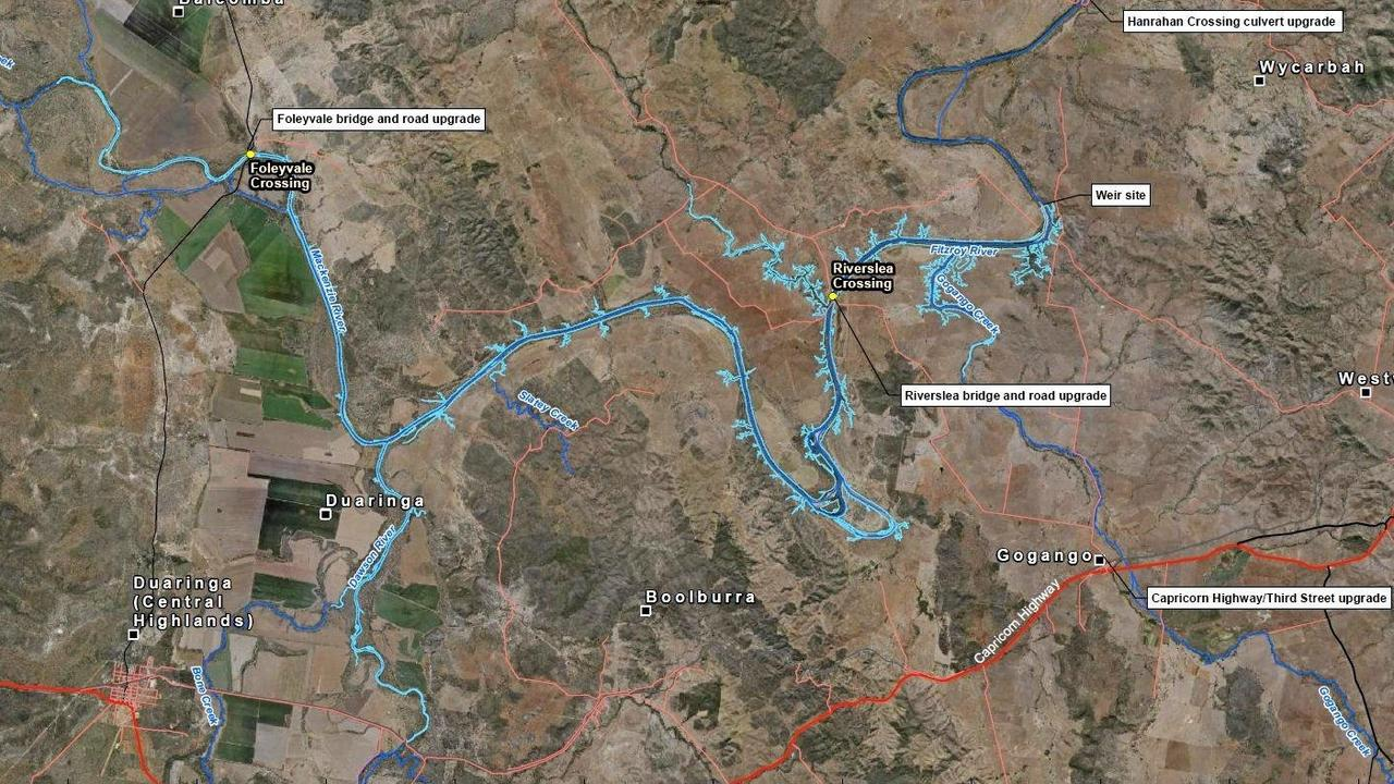 MAP: Project overview for construction of Rookwood Weir.